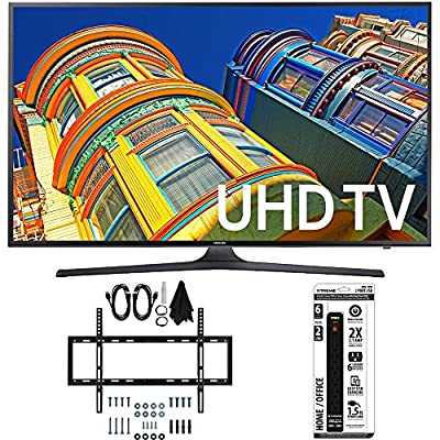 Samsung UN55KU6300 55-Inch Smart 4K UHD HDR LED TV with Slim Wall Mount, 6 Outlet Power Strip and Dual USB Ports
