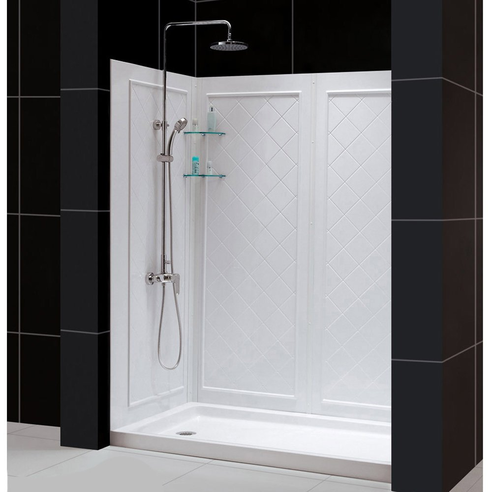W Kit, With Sliding Shower Door In Chrome, Left Drain White Acrylic Base  And Backwalls   Complete Shower Stalls   Amazon.com