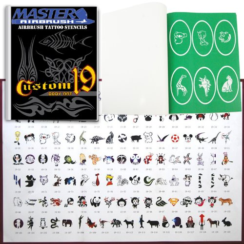 (Master Airbrush Brand Airbrush Tattoo Stencils Set Book #19 Reuseable Tattoo Template Set, Book Contains 120 Unique Stencil Designs, All Patterns Come on High Quality Vinyl Sheets with a Self)