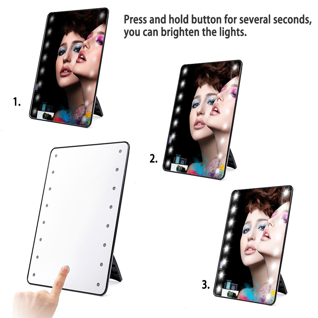 BTSKY® Portable Touch Screen LED Lighted Vanity Mirror-16 LED Lights  Battery Operated Retangular Cosmetic Lighted Make Up Mirror (Black ):  Amazon.ca:
