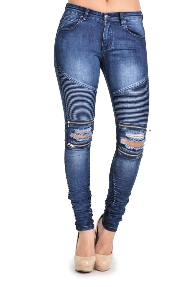 G-Style USA Women's Biker Style Ripped Zip Rider Jeans - RJL462 - DK. Blue - X-Large - N4