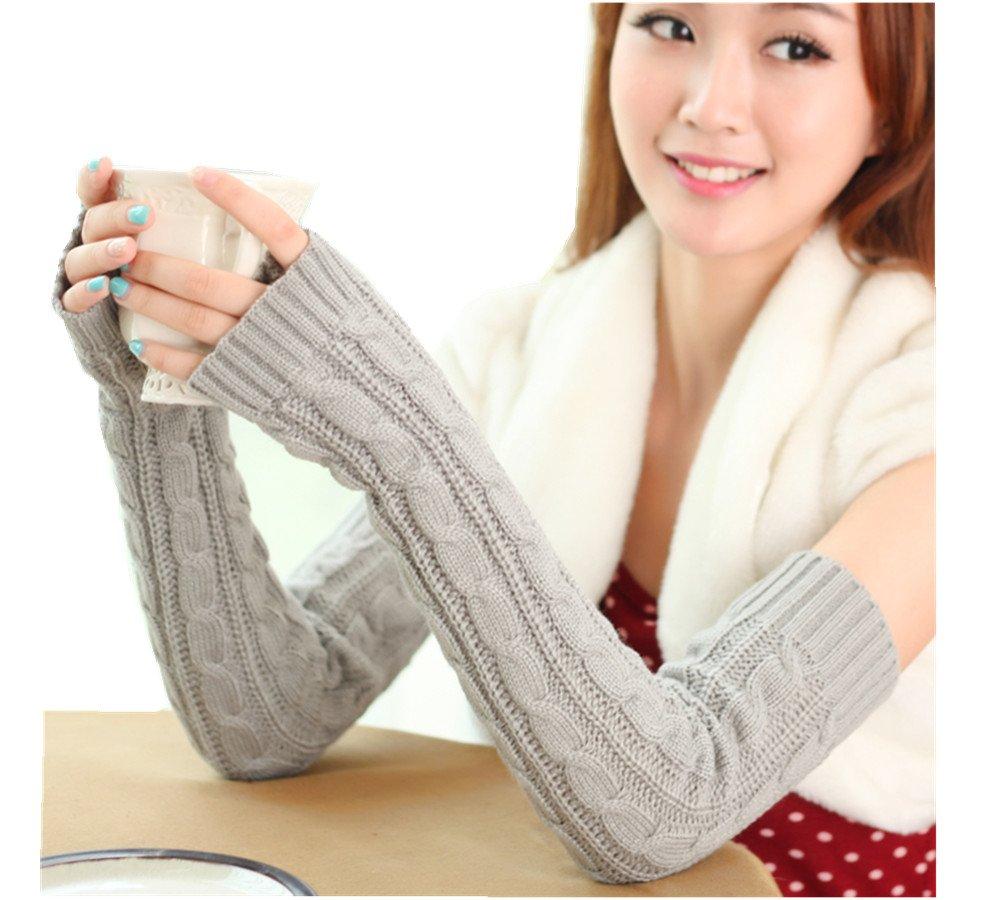 Women Crochet Knitting Wool Braided Wrist Arm Warm Mitten Fingerless Long Gloves