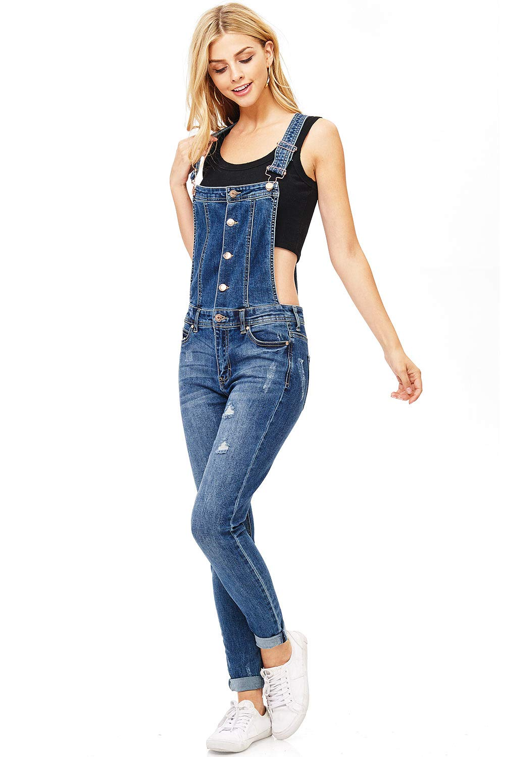 e003b4461a5 Celebrity Pink Women s Juniors Classic Skinny Leg Overalls - Denim Fit