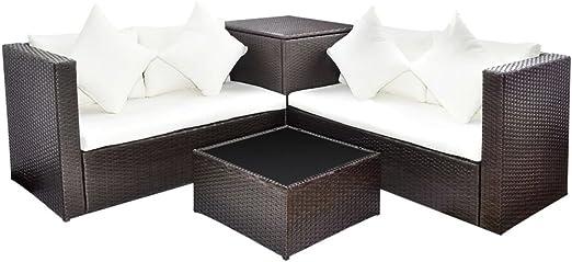 vidaXL Conjunto de Muebles de Jardín con Baúl de Almacenaje Poli Ratan Marrón: Amazon.es: Jardín