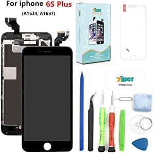 Screen Replacement for iPhone 6S Plus (5.5 inch) - LCD Display Touch Digitizer Assembly Set with Proximity Sensor, Front Camera, Earpiece, Tempered Glass, Repair Tools and Instruction (Black)