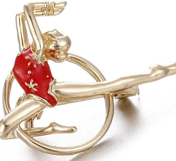 Rouge Pinhan Gymnastique Rythmique Athl/ète F/éminine Broche Broche V/êtements Goutte /À lhuile Bijoux Accessoire Partie Mariage Cadeau De Mode pour Filles Femmes Dame