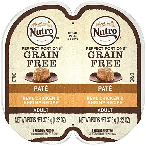 NUTRO PERFECT PORTIONS Pate Real Chicken and Shrimp Wet Cat Food Tray - 2.65 Ounces (Pack of 24)