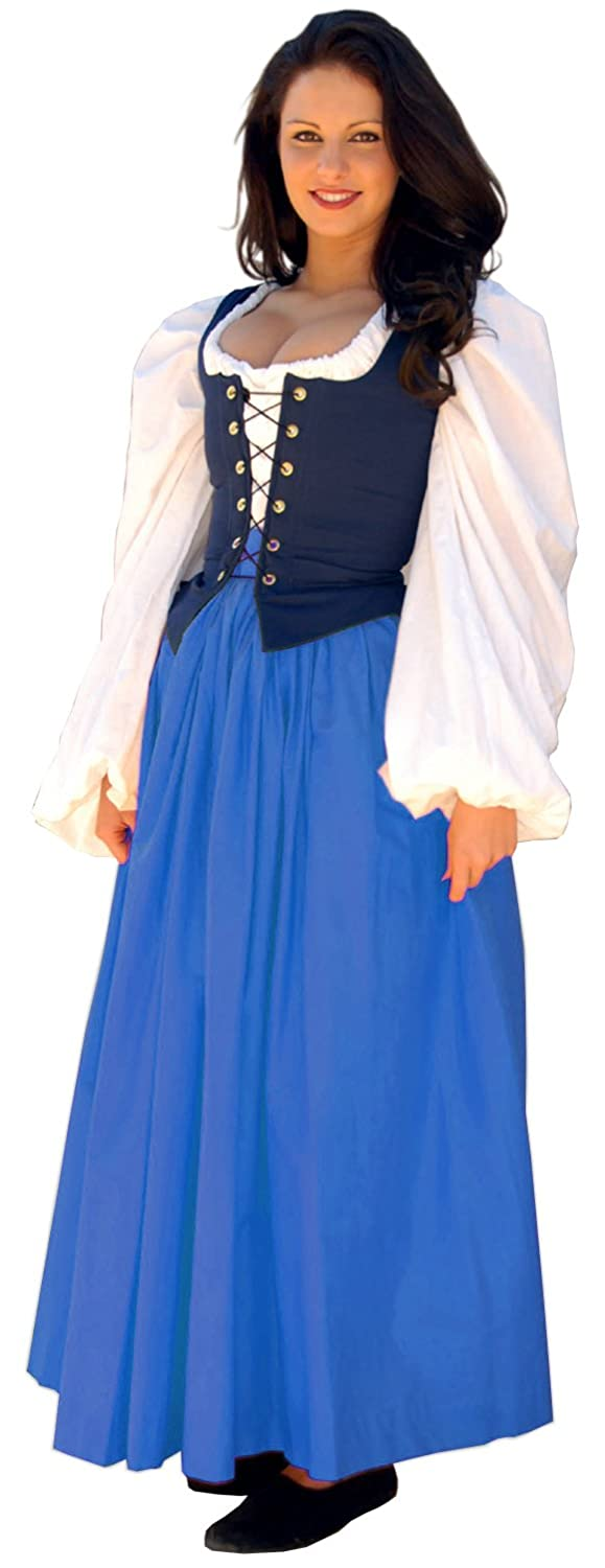 Renaissance Gathered Soft Cotton Marine Blue Skirt by Sofi's Stitches - DeluxeAdultCostumes.com