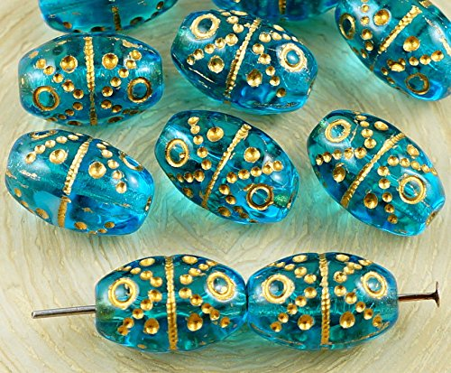 - 10pcs Crystal Aquamarine Blue Turquoise Gold Wash Easter Bird Egg Striped Dotted Oval Tube Czech Glass Beads 13mm x 9mm