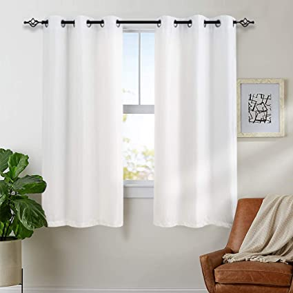 White Curtains for Bedroom Living Room Grommet Window Drapes Waffle-Weave  Textured Curtain Panels for Living Room 63 inch Length 2 Panels