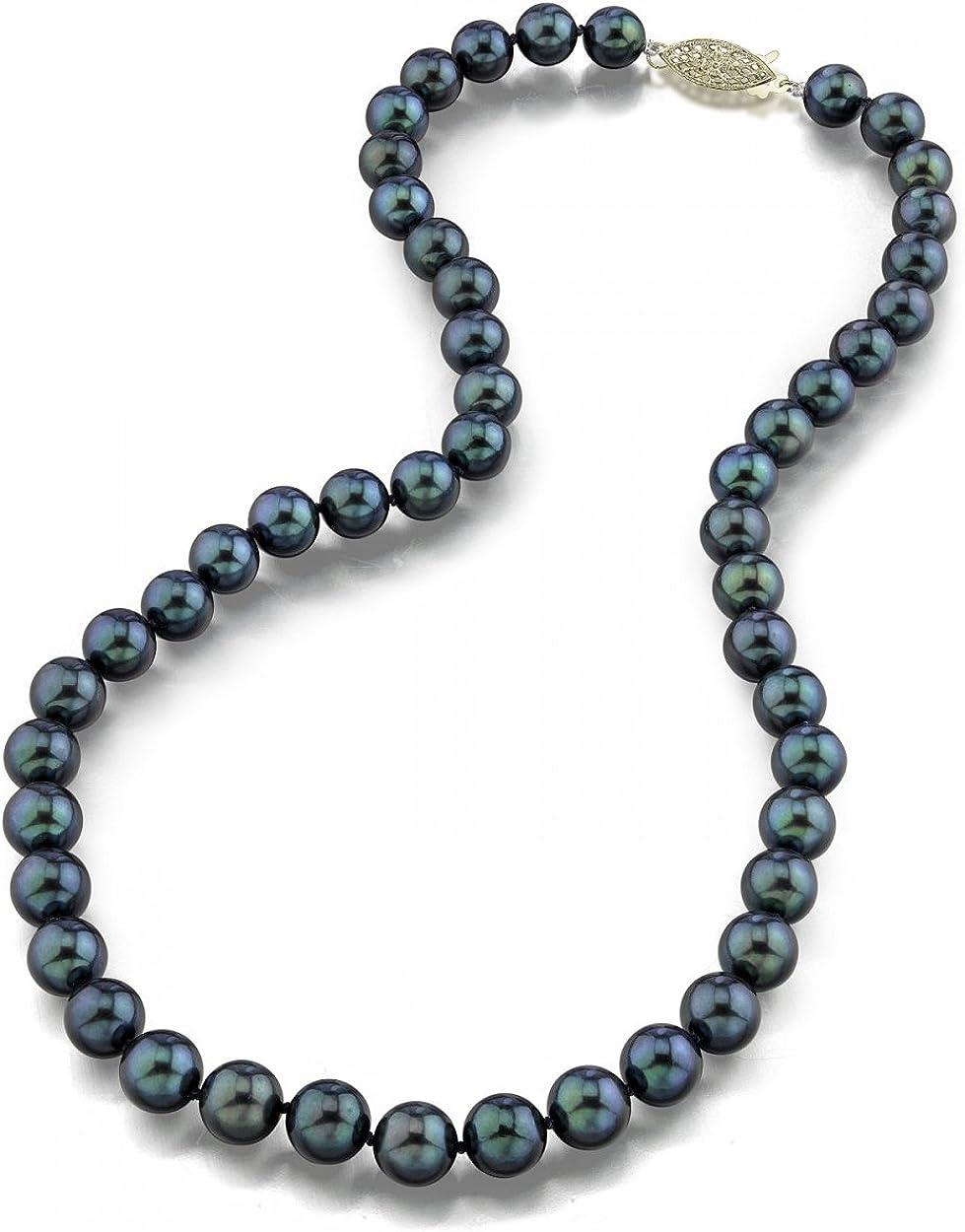 Negro japonés collar de perlas Akoya 7 - 7,5 mm AAA agua dulce perla longitud Princess 45 cm - real oro cierre