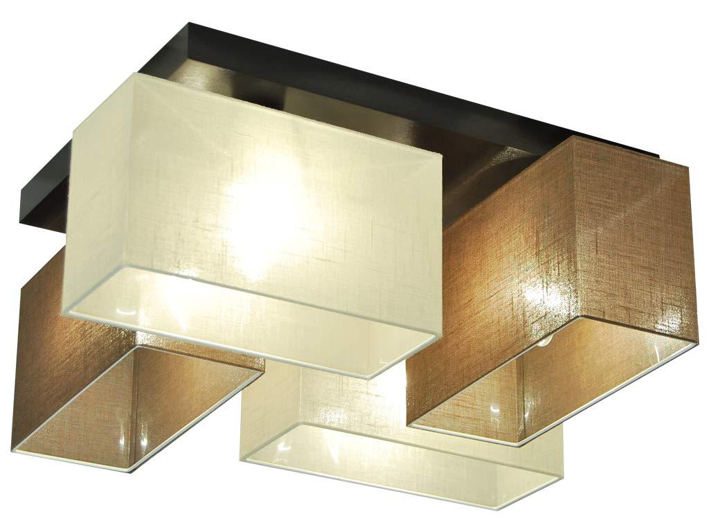 Deckenlampe - HausLeuchten JLS41BRECD - 4 Varianten, Deckenleuchte, Leuchte, Lampe, 4-flammig, Massivholz (BRAUN   ECRU)
