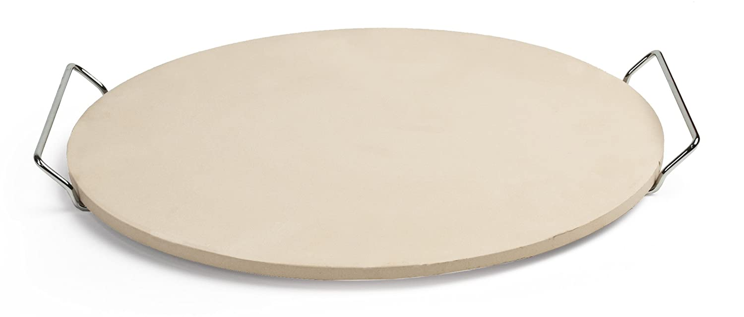 "Pizzacraft PC0001 Round Ceramic Pizza Stone with Wire Frame, 15""Diameter"