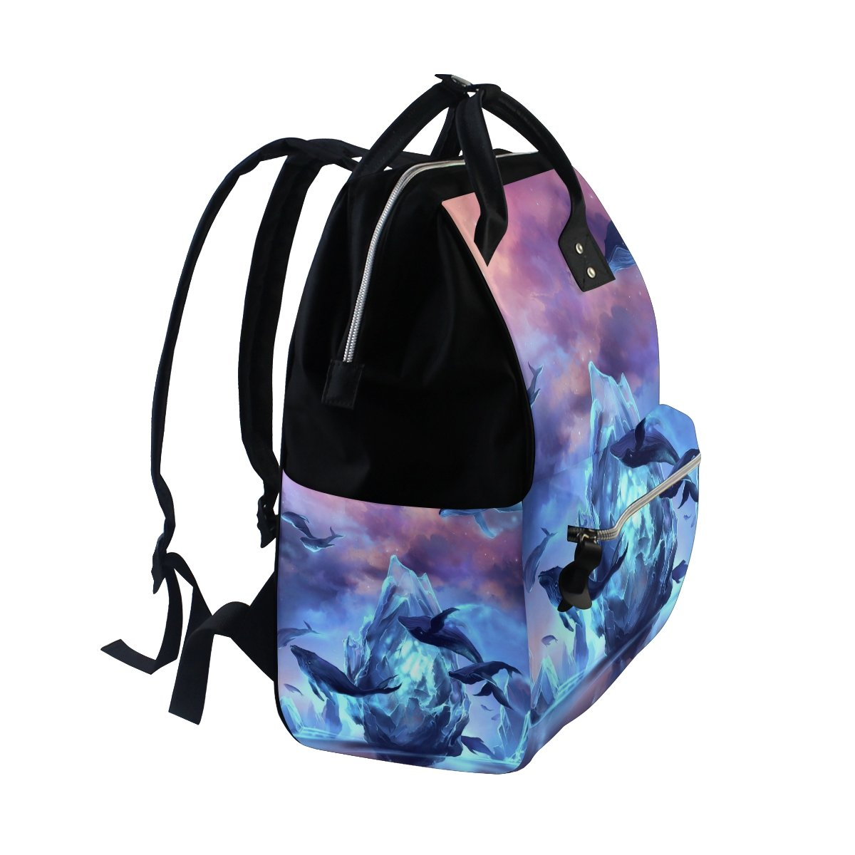 Diaper Bags Backpack Purse Mummy Backpack Fashion Mummy Maternity Nappy Bag Cool Cute Travel Backpack Laptop Backpack with Beautiful Whale Pattern Daypack for Women Girls Kids