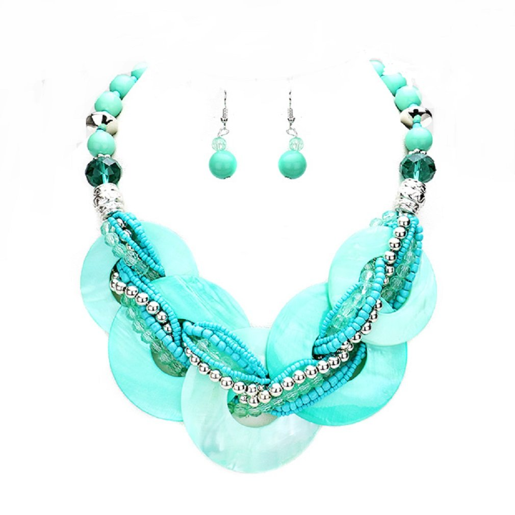 Chunky Mint Turquoise Abalone Shell Braided Strand Silver beads Necklace Earrings Set Jewelry