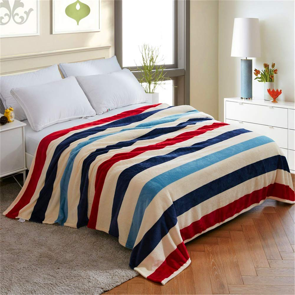 Flannel Blanket Soft and Delicate Moisture Absorbing Skin-Friendly Natural Warm Microfiber Striped Curling 200230cm by iangbaoyo