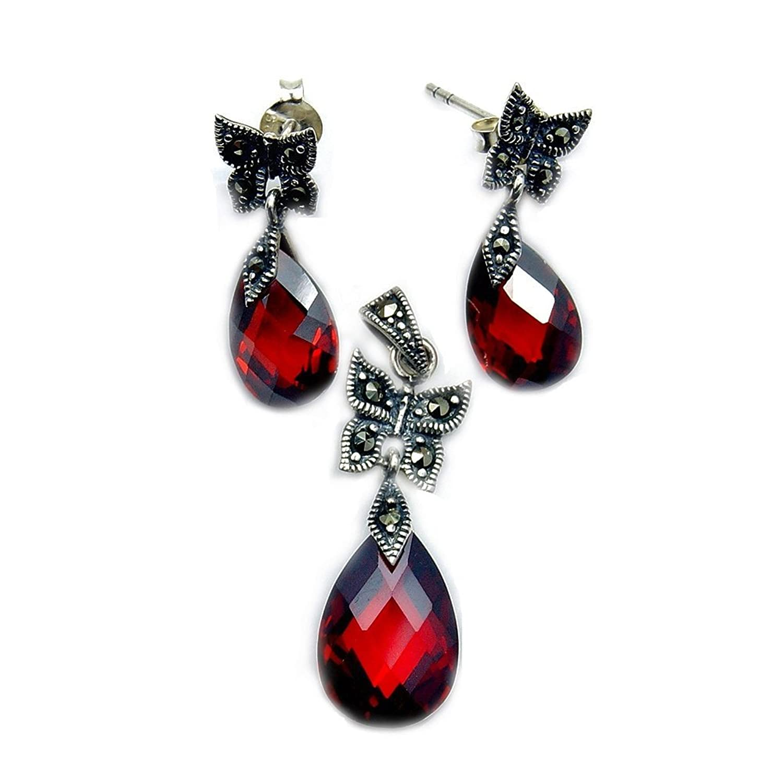 'Lovely Butterflies' Sterling Silver Red CZ, Marcasite Earrings & Pendant Set