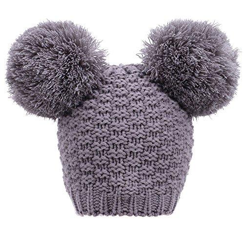 Simplicity Women's Winter Knit Pompom Ski Snowboard Beanie Hat, Double Poms_Grey,One ()