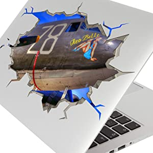 Laptop Stickers Spitfire Aircraft Aeroplane Decal 3D Art Hole Room S196