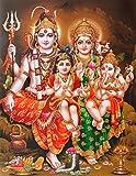 Lord Shiva / Shree Shankar / God Shiva with Parvati, Ganesha and Kartikeya / Mahadev Poster (Size: 8.5x11 inch Unframed)