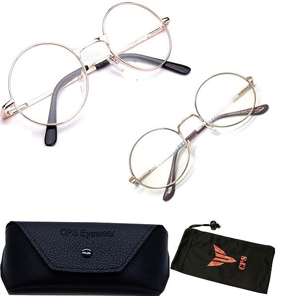 f12f81802b Amazon.com  2 PAIRS Gold Harry Potter Eyeglasses Retro Round Metal Frame  Clear Lens Glasses  Clothing