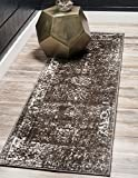 Unique Loom Sofia Collection Traditional Vintage Brown Home Décor Runner Rug (2' x 7')