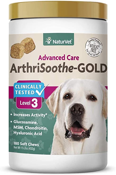 NaturVet ArthriSoothe-Gold Level 3 Advanced Joint Care for Dogs – Soft Chew Dog Supplement with Glucosamine, MSM, Chondroitin & Hyaluronic Acid – Wheat-Free Pet Supplements