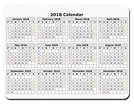 2018 calendar anti slip personalized rectangle gaming mouse pads size94 x7
