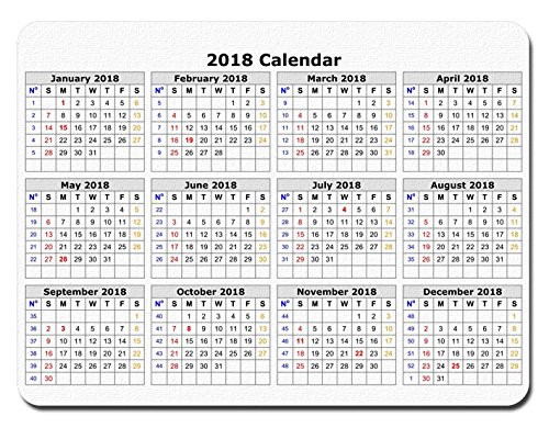 2018 Calendar Anti-Slip Personalized Rectangle gaming Mouse Pads Size:9.4
