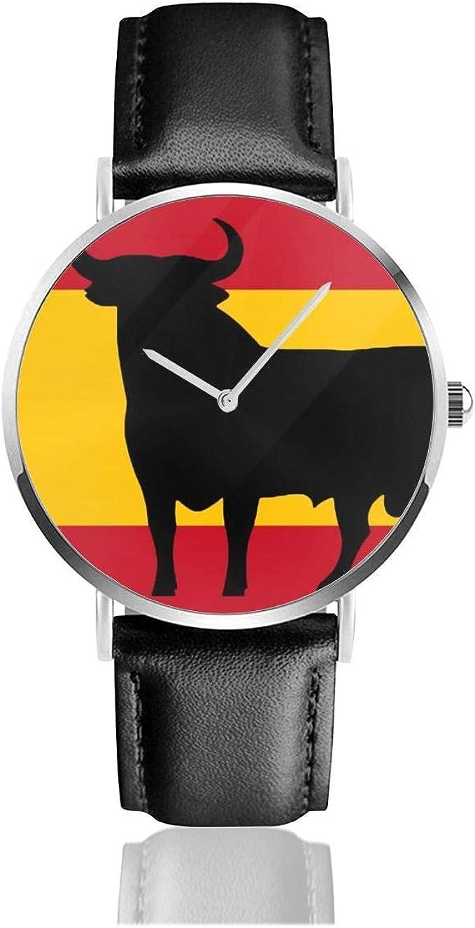 Bandera de España Toro Reloj Unisex Reloj Deportivo de Moda PU Correa de Cuero Relojes de Pulsera de Cuarzo Reloj clásico Delgado: Amazon.es: Relojes