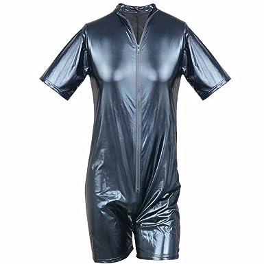 c5c66c9f784 iEFiEL Men Patent Leather Romper Bodysuit Club Studio Stage Catsuit Zipper  Costume Black S