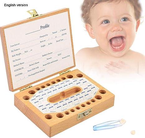 Caja organizadora para guardar dientes de bebé, caja para guardar dientes de leche, caja para guardar recuerdos para niños y niñas: Amazon.es: Bebé