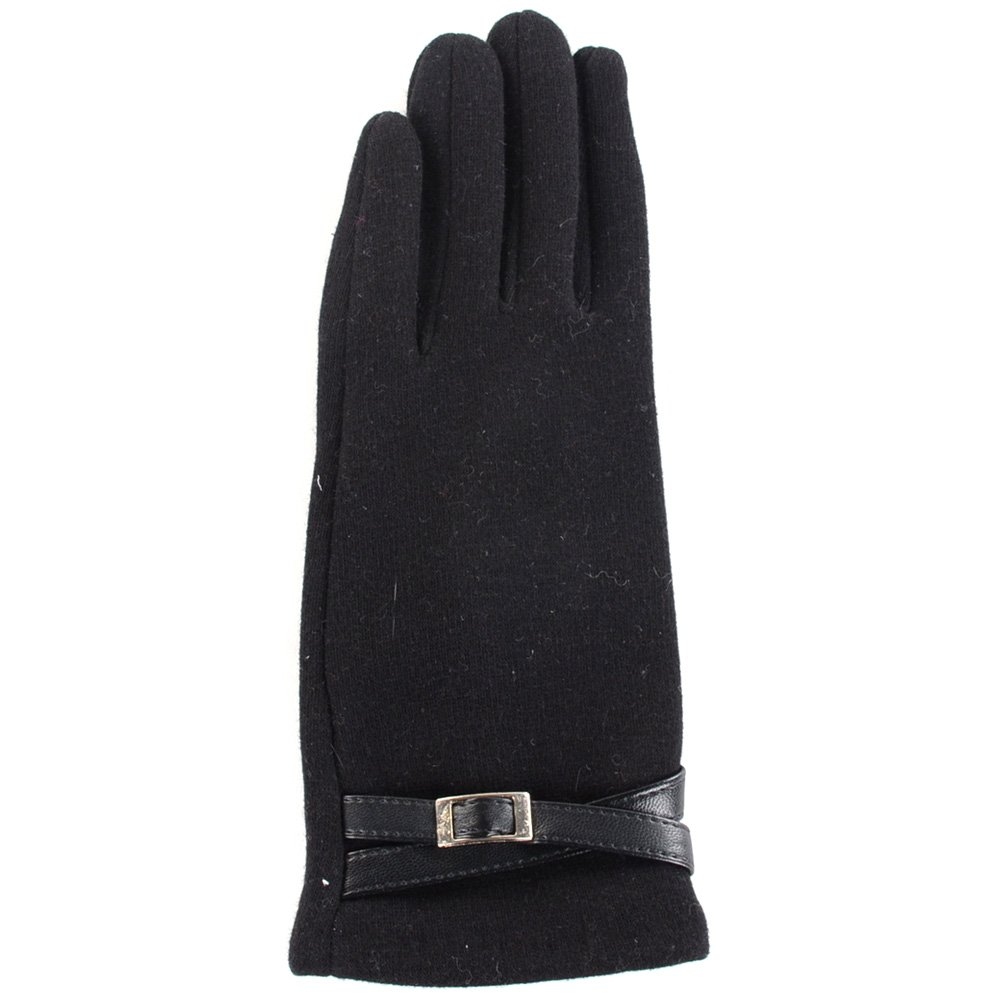 BYOS Ladies Winter Texting Gloves for All Touch-Screen Devices Smartphone & Tablet, Fleece Lined Two Fingertips Conductive Tech (Medium, Black Crossed Belt)