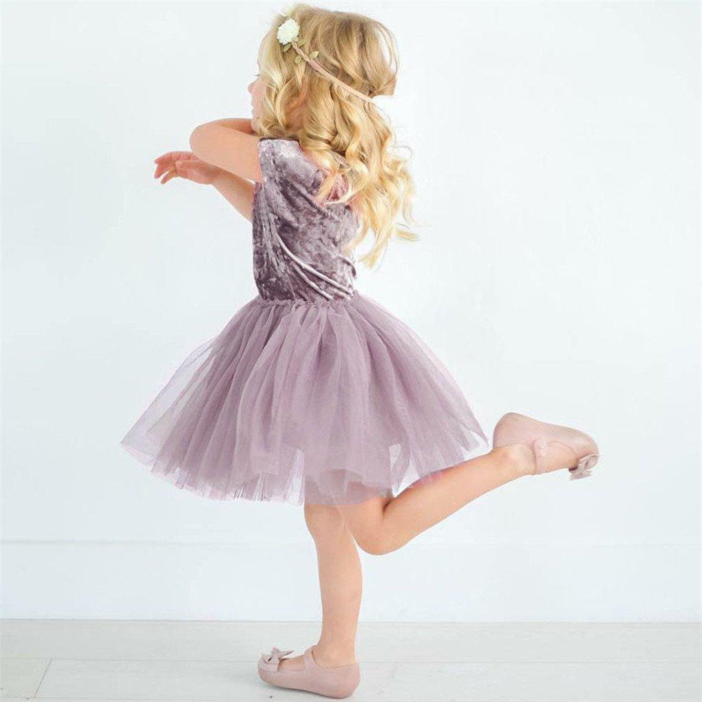 a365230c0b Ropa para niña de 0 a 4 años JYJM Moda Casual Niños Dorado Terciopelo Color  sólido Vestido de Manga Corta Tutu Falda Red Hilo Falda Princesa Vestido  Vestido ...