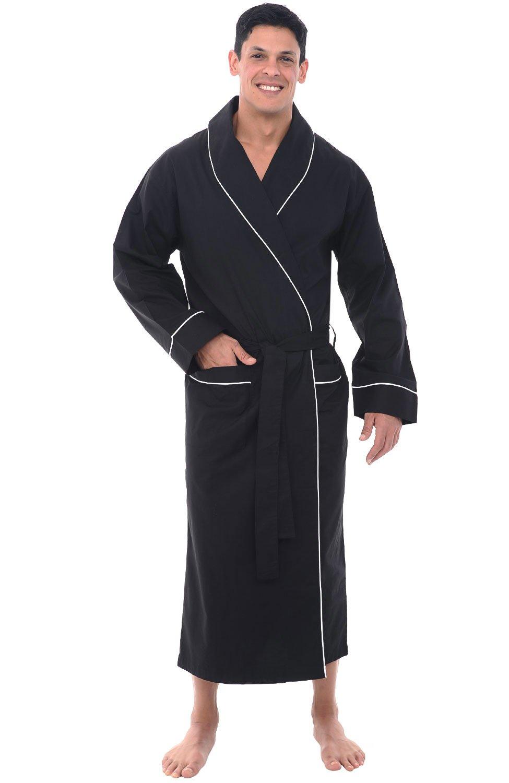 Alexander Del Rossa Mens Cotton Robe, Lightweight Woven Bathrobe, 3XL Black (A0715BLK3X)