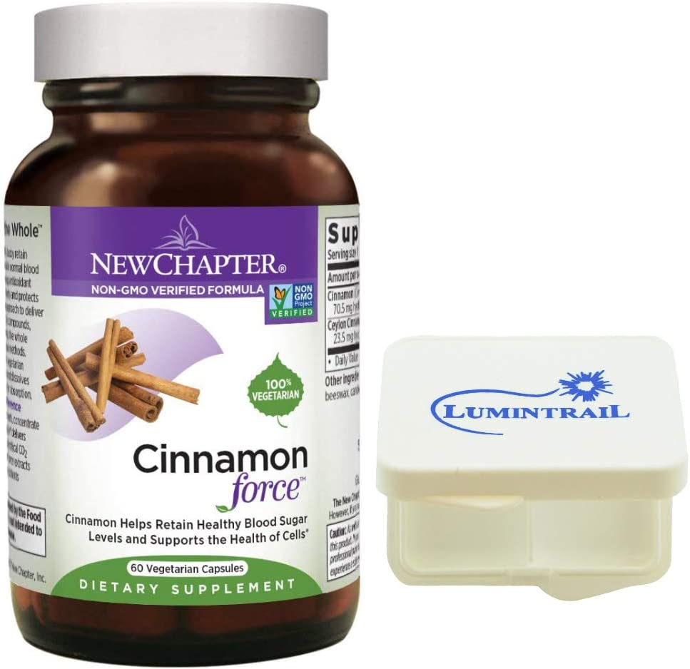 New Chapter Cinnamon Force Supplement for Blood Sugar Support with Antioxidant Action Non-GMO – 60 Vegetarian Capsules Bundle with a Lumintrail Pill Case