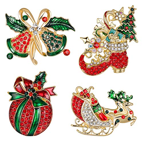 PunkStyle 4 Pcs Steampunk2017 Jewelry Crystal Christmas Pins Brooches Set Including Jingle Bells, Reindeer,Boots,Pumpkin (A)