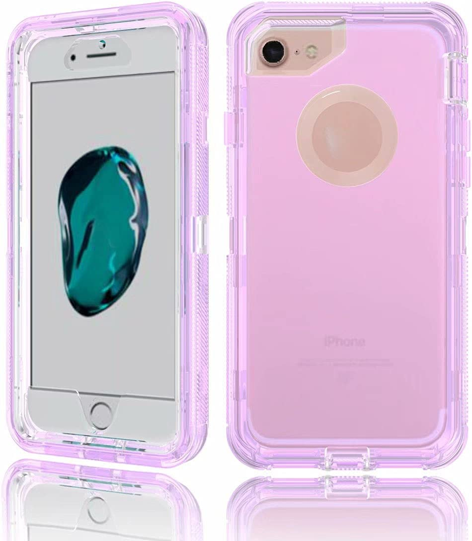 DESHENG Smartphone Protective Clips Suitable for iPhone 8 Plus Shiny Transparent Protective Case, Hard PC Case and Soft TPU Case, Shockproof Effect Phone Bag (Color : Purple)