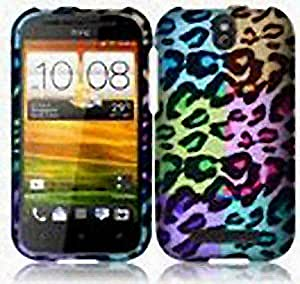 Purple Green Colorful Leopard Hard Cover Case for HTC One SV