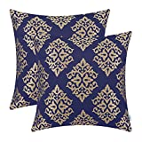 CaliTime Pack of 2 Soft Jacquard Throw Pillow Covers Cases Couch Sofa Home Decoration Vintage Damask Floral 18 X 18 inches Navy Blue Gold