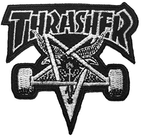 [The THRASHER 7.5 x 7 cm. Skateboard Patch Music Band Logo Jacket Vest shirt hat blanket backpack T shirt Patches Embroidered Appliques Symbol Badge Cloth Sign Costume] (Settlers Of Catan Costumes)