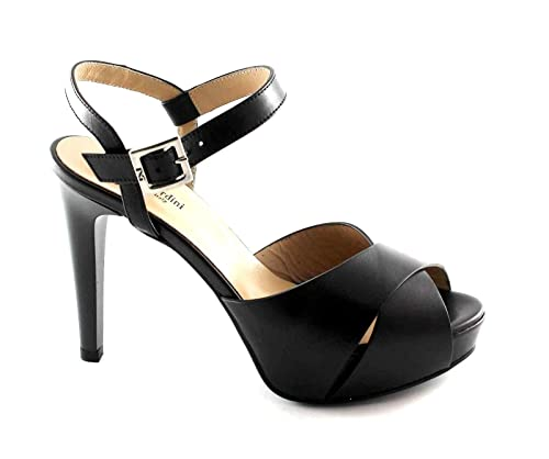 NERO GIARDINI 17900 nero scarpe donna sandali tacco pelle fibbia