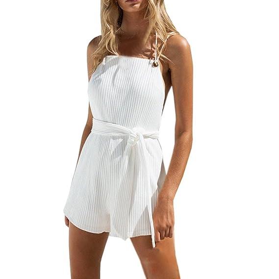 Pantalones para Mujer,Sexy Bodycon Playsuit Vestidos para Mujer de Mameluco Clubwear Traje de Playa de Verano Monos Fiesta Tallas Grandes Cortos ...
