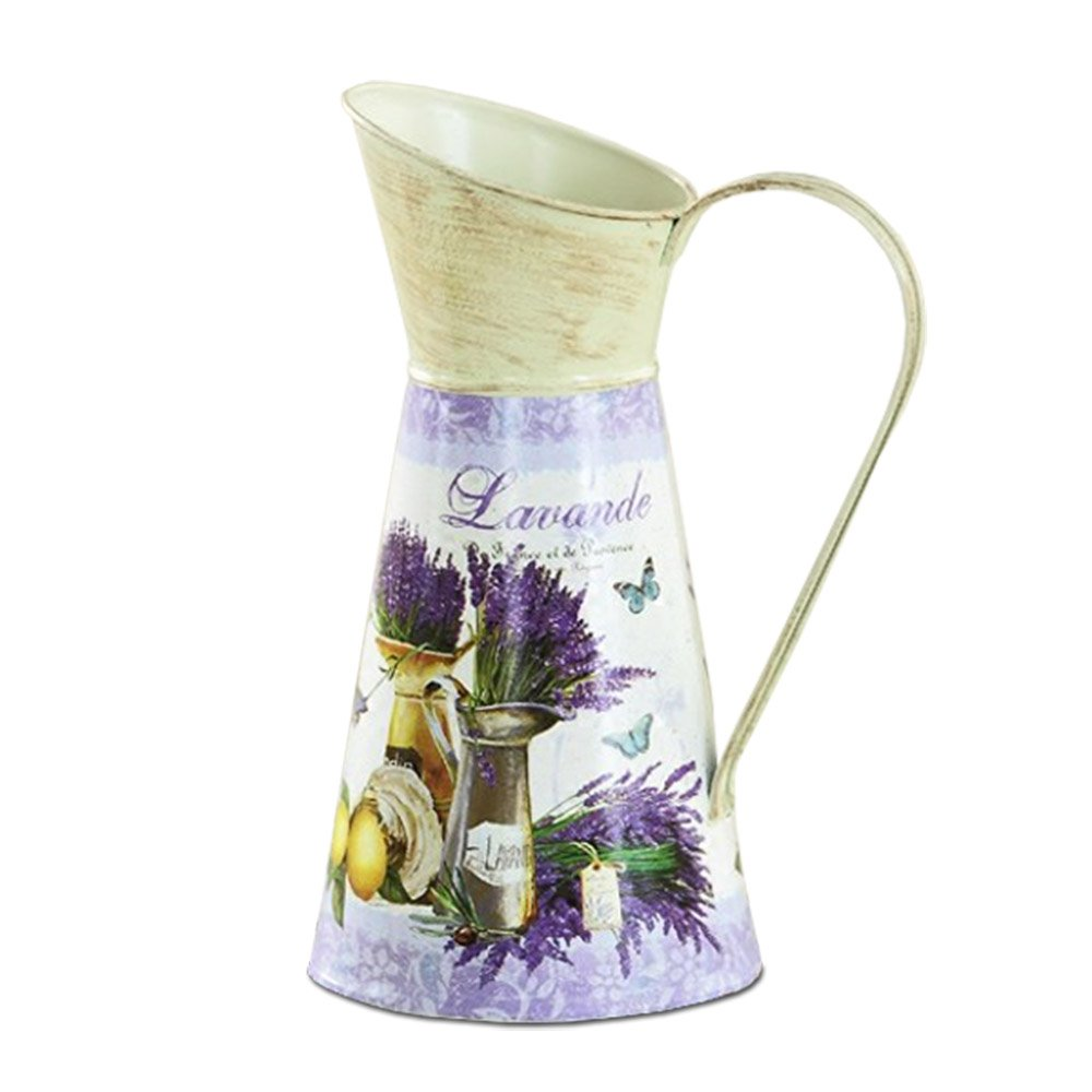 APSOONSELL Classical Rustic Decorative Pitchers Tin Vase for Flowers Country French Decor - Purple