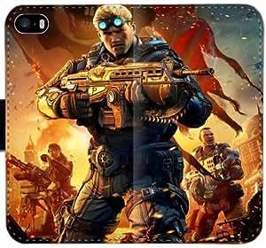 Gears Of War Funda iPhone Y6P8Q Caso 6 6S 4.7 Cartera de cuero Funda Flip Case A7Y7F1 duro Teléfono fundas Moda