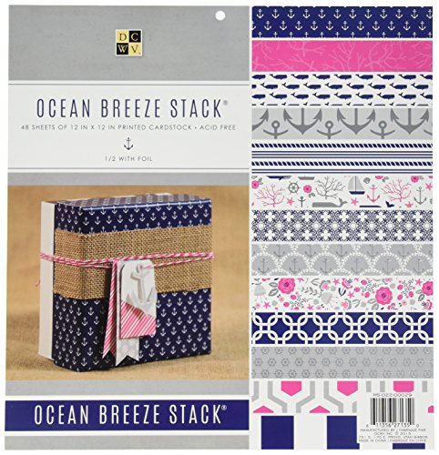 """American Crafts 12 x 12 Inch Ocean Breeze 48 Sheets Die Cuts with a View Stacks, 12"""" x 12"""""""