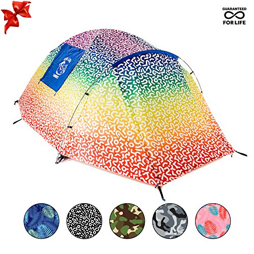 (Chillbo CABBINS Best 2 Person Tent with Cool Patterns Ultimate Summer Camping Gear Gift for Backpacking Car Camping Music Festivals Best Camping Tents for Family 2-3 Man Tent (Rainbow Swizzle))
