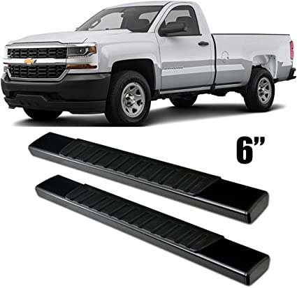 """4/"""" Black Curved Running Boards For 2001-2018 Chevy Silverado Crew Cab Side Steps"""