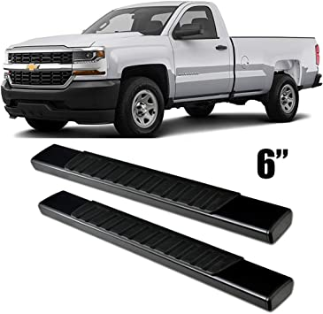 Side Step Nerf Bars Gevog 6 inches Running Boards for 99-18 Chevy Silverado GMC Sierra Extended Cab Double Cab, with 2 Full Size Front Door and 2 Half Size Rear Door