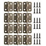 18MM Antique Brass Mini Hinges 12-Pack with Bronze Screws for Wooden Jewelry Box Cabinet Decorative